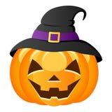 Zucca di Halloween con il cappello della strega Immagini Stock