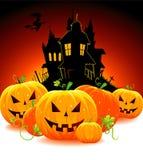 Zucca di Halloween con il castello Immagine Stock Libera da Diritti