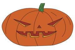 Zucca di Halloween con il fronte scolpito Immagine Stock
