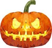 Zucca di Halloween con il fronte spaventoso su bianco Fotografie Stock