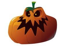 Zucca di Halloween con il fronte spaventoso su bianco Immagine Stock