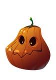 Zucca di Halloween con il fronte spaventoso su bianco Fotografia Stock Libera da Diritti