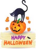 Zucca di Halloween con il gatto nero ed il segno di legno Immagini Stock
