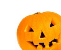 Zucca di Halloween con il percorso di residuo della potatura meccanica Immagine Stock Libera da Diritti