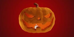 Zucca di Halloween con la luce 3d-illustration della candela illustrazione di stock