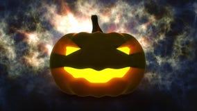 Zucca di Halloween con la luce della candela dentro Fotografia Stock