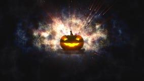 Zucca di Halloween con la luce della candela dentro Fotografia Stock Libera da Diritti