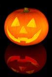 Zucca di Halloween con la riflessione Fotografia Stock Libera da Diritti