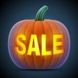 Zucca di Halloween con la scultura Fotografie Stock