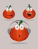 Zucca di Halloween con le espressioni Fotografie Stock Libere da Diritti