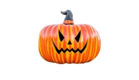 Zucca di Halloween con ombra isolata su bianco Fotografia Stock Libera da Diritti