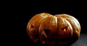 Zucca di Halloween contro fondo nero 4k stock footage
