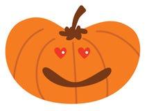 Zucca di Halloween del fumetto con nell'espressione di amore illustrazione vettoriale