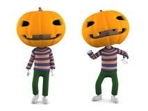 Zucca di Halloween della lanterna di Jack O, illustrazione 3D Fotografie Stock