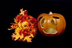 Zucca di Halloween e corno di abbondanza Fotografie Stock Libere da Diritti