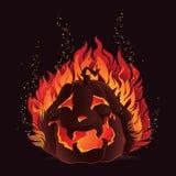 Zucca di Halloween in fiamme Fotografia Stock