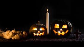 Zucca di Halloween, fondo nero Fotografie Stock Libere da Diritti