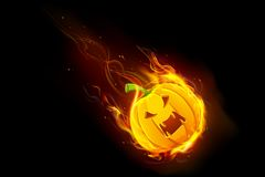 Zucca di Halloween in fuoco Fotografia Stock