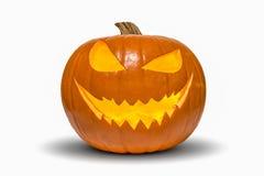 Zucca di Halloween isolata su bianco Immagini Stock Libere da Diritti