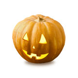 Zucca di Halloween isolata su priorità bassa bianca Fotografia Stock