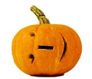 Zucca di Halloween isolata su priorità bassa bianca con il sorriso del Internet Fotografia Stock