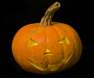 Zucca di Halloween isolata sul nero Immagine Stock Libera da Diritti