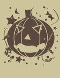 Zucca di Halloween nel tan e nel colore marrone Fotografia Stock Libera da Diritti