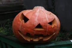 Zucca di Halloween nell'iarda Immagine Stock Libera da Diritti