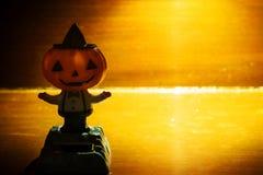 Zucca di Halloween su fondo di legno Fotografia Stock
