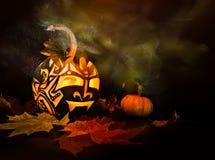 Zucca di Halloween su fondo nero Immagini Stock Libere da Diritti