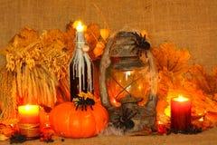 Zucca di Halloween su fondo di tela fotografia stock libera da diritti
