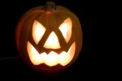 Zucca di Halloween su priorità bassa nera Fotografie Stock Libere da Diritti