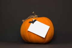 Zucca di Halloween su una priorità bassa nera Fotografie Stock Libere da Diritti