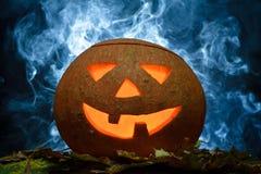 Zucca di Halloween sui fogli Fotografia Stock