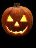 Zucca di Halloween sul nero Fotografia Stock Libera da Diritti