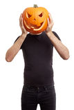 Zucca di Halloween sulla testa dell'uomo Fotografia Stock Libera da Diritti