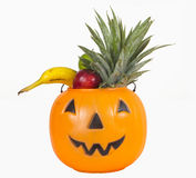 Zucca di plastica di Halloween in pieno dei frutti Fotografia Stock Libera da Diritti