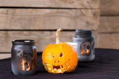 Zucca divertente di Halloween Fotografie Stock