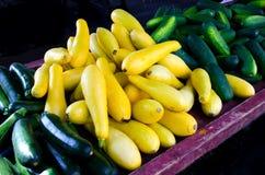 Zucca e cetrioli da vendere Fotografie Stock