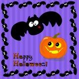 Zucca e pipistrello divertenti di Halloween Fotografie Stock