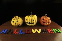 Zucca e testo di Halloween. Fotografia Stock