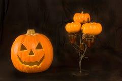 Zucca ed albero di Halloween Immagini Stock Libere da Diritti