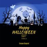 Zucca felice di festa di Halloween del manifesto, cimitero, castello abbandonato nero, attributi della festa di tutti i san, fant illustrazione vettoriale