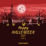 Zucca felice di festa di Halloween del manifesto, cimitero, castello abbandonato nero, attributi della festa di tutti i san, fant illustrazione di stock