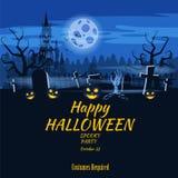Zucca felice di festa di Halloween del manifesto, cimitero, castello abbandonato nero, attributi della festa di tutti i san, fant royalty illustrazione gratis