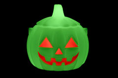 Zucca fluorescente verde di Halloween Fotografie Stock