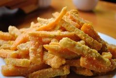 Zucca fritta con il dessert salato del tuorlo d'uovo Fotografia Stock Libera da Diritti