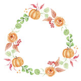 Zucca Garland Floral Wreath dipinto Autumn Watercolor Fall Flower Hand Fotografia Stock