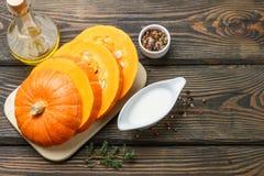 Zucca Ingredienti per la cottura della minestra con crema Fotografia Stock Libera da Diritti