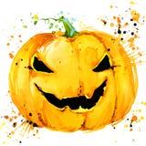 Zucca intagliata di Halloween Fondo dell'illustrazione dell'acquerello per la festa Halloween illustrazione di stock